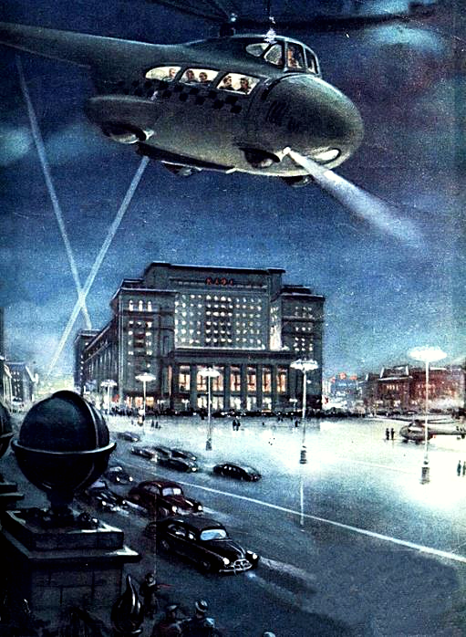 "Helicopter taxi in Moscow, 1956. Journal ""Knowledge is Strength"""